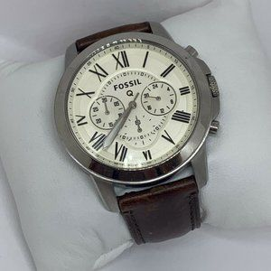 Fossil Men's Leather Analog Cream Dial Watch E352